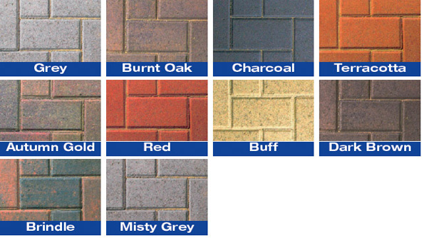 A range of our block paving colours